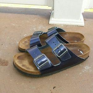 Birkenstock metallic blue Arizona sandals size 9